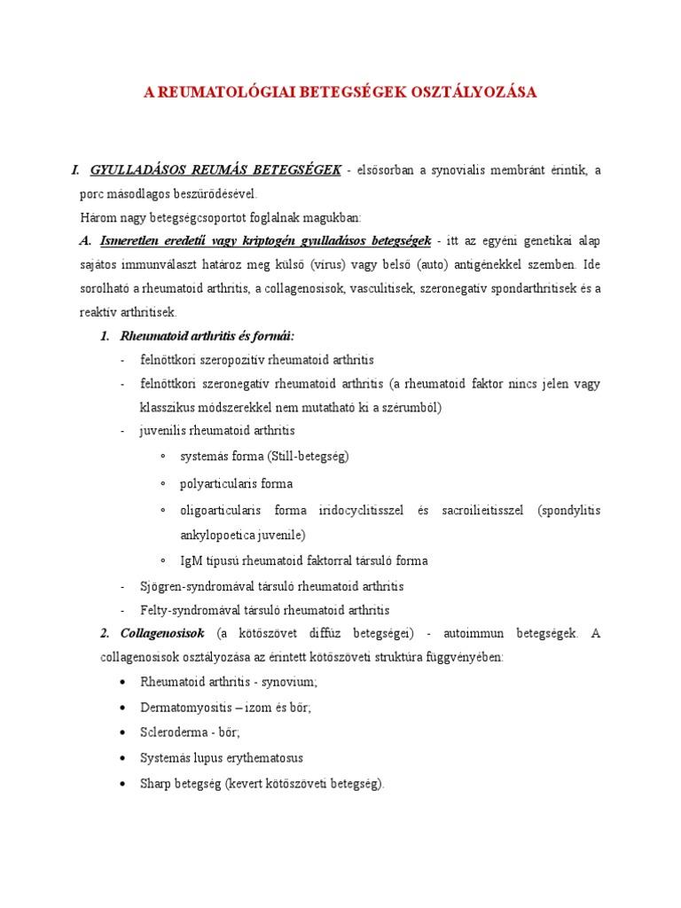diffúz betegségek a kötőszövetben nodularis periarteritis reuma)