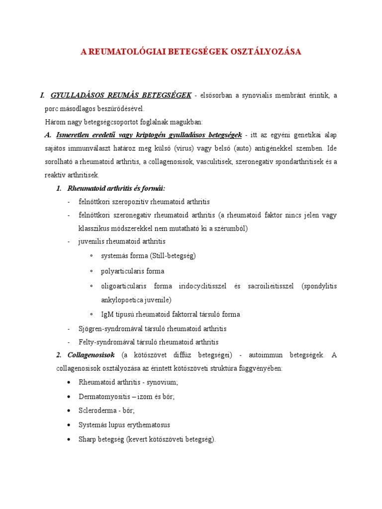 ízületi betegségek diagnosztikai kritériumai