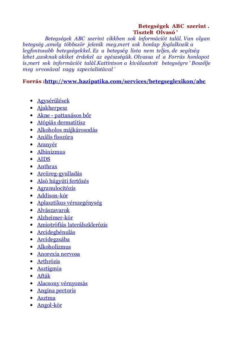 ízületi betegségek betegségek listája)